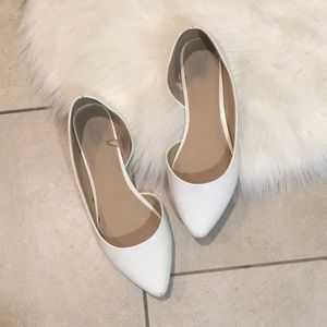 White Patent Pointy Toe Flats